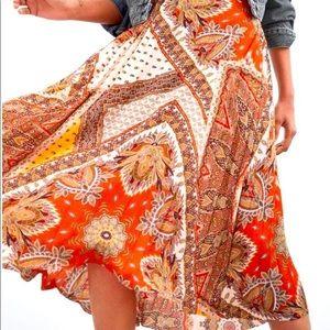ZARA | Printed Pleated Midi Skirt Orange XS